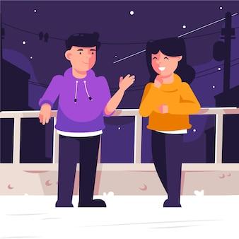 Paar die van de nacht op het concept van dakstaycation genieten