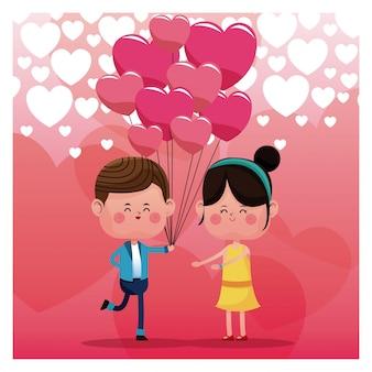 Paar die van roze het hartachtergrond houden van de ballonsregen