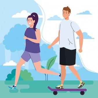 Paar die vrije tijds openluchtactiviteiten, vrouwen het lopen en man in het ontwerp van de skateboardillustratie uitvoeren