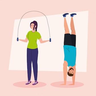 Paar doen oefening, sport recreatie concept