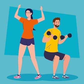Paar doen oefeningen, sport recreatie concept