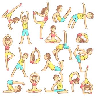 Paar doen yoga houdingen