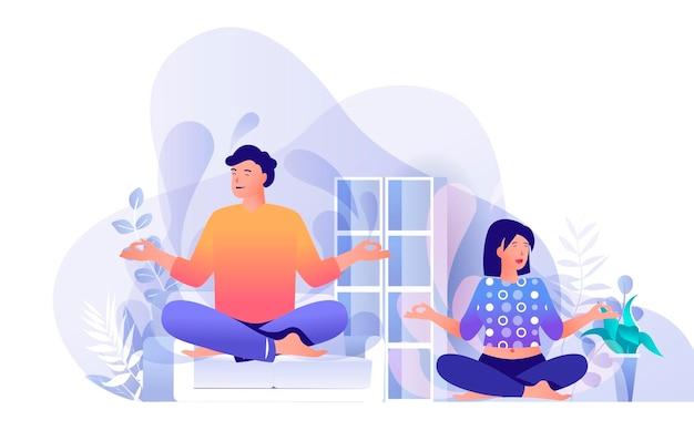 Paar doet yoga thuis scène illustratie van personen karakters in platte ontwerpconcept