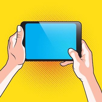 Paar draagbare tablet-pc met hand en aanraking