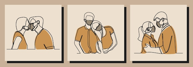 Paar dragen masker oneline continue lijn kunst premium vector