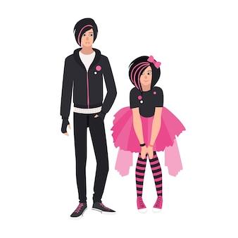 Paar emo-kinderen. jonge man en vrouw gekleed in zwarte kleding. stijlvol stel of emocore-fans