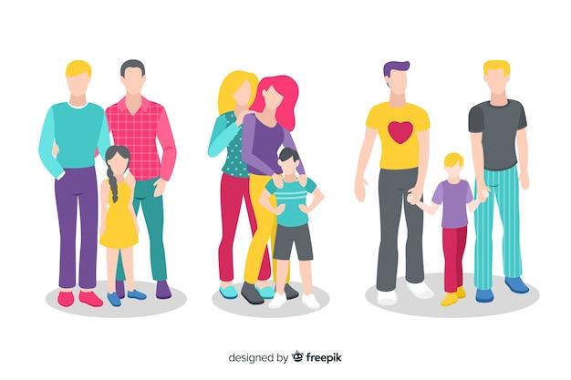 Paar en familie trots dag collectie