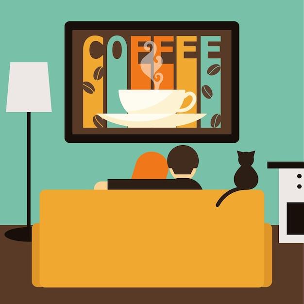 Paar en kat kijken samen koffie reclame op televisie zittend op de bank in de kamer. trendy vlakke stijlillustratie voor ontwerpkaart, uitnodiging, poster, banner, plakkaat