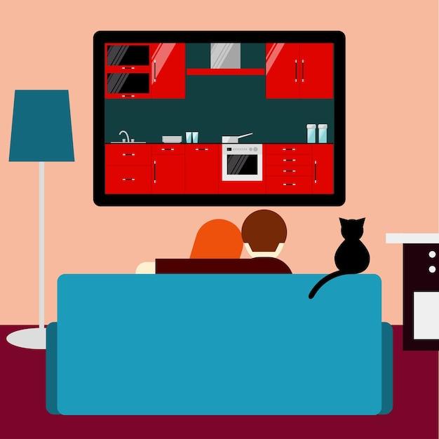 Paar en kat televisiekijken zittend op de bank in de kamer. platte stijl. lifestile en interieur thema.