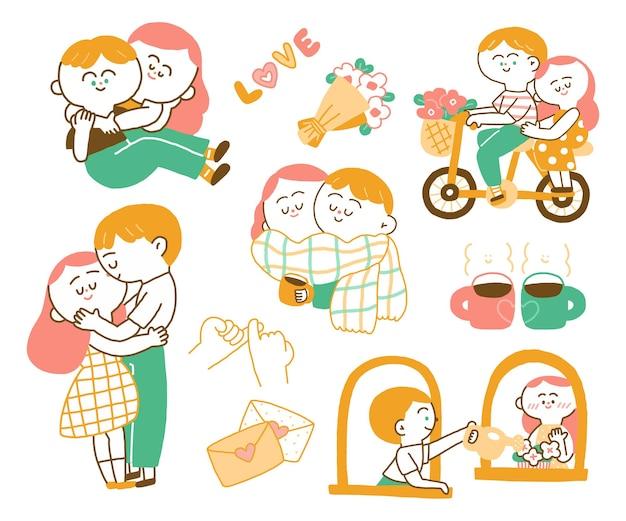 Paar en minnaar jongen en meisje zijn verliefd. hand tekenen set