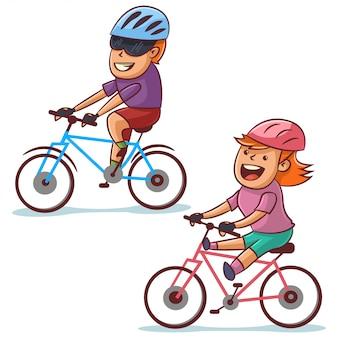 Paar fietsen. gelukkige jongen en meisje fietsen. gezonde levensstijl en fietssport. cartoon illustratie geïsoleerd op een witte achtergrond.