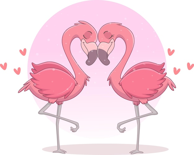 Paar flamingo verliefd op harten