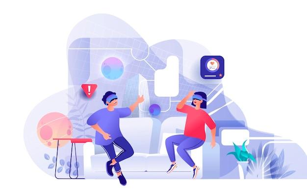 Paar gebruikt de illustratie van de virtuele werkelijkheidsscène van mensenkarakters in vlak ontwerpconcept