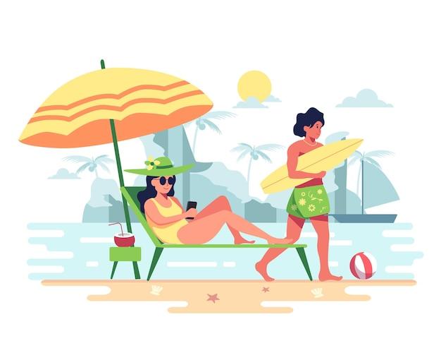Paar genieten van de vakantie op het strand Gratis Vector