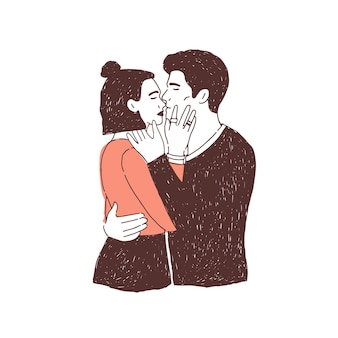 Paar gepassioneerde minnaars op date. jonge stijlvolle man en vrouw knuffelen en zoenen.