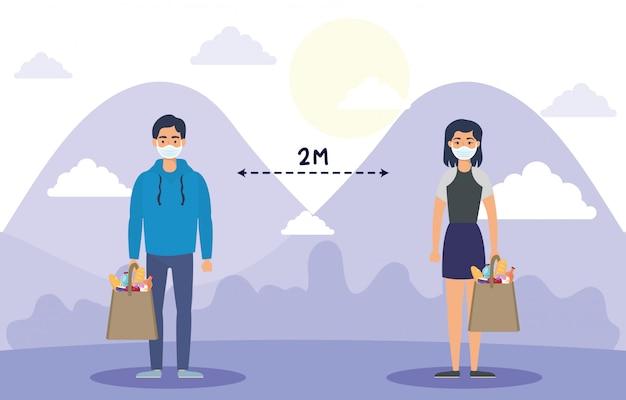 Paar gezichtsmaskers gebruiken met boodschappen boodschappentas en sociale afstand