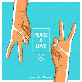 Paar handen vredesteken achtergrond