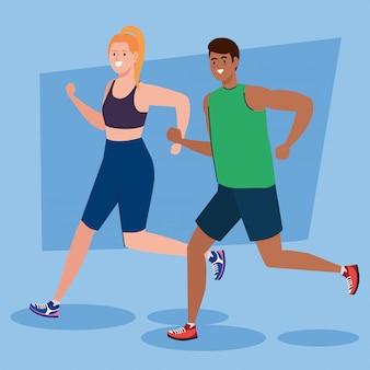 Paar hardlopen, sport recreatie concept