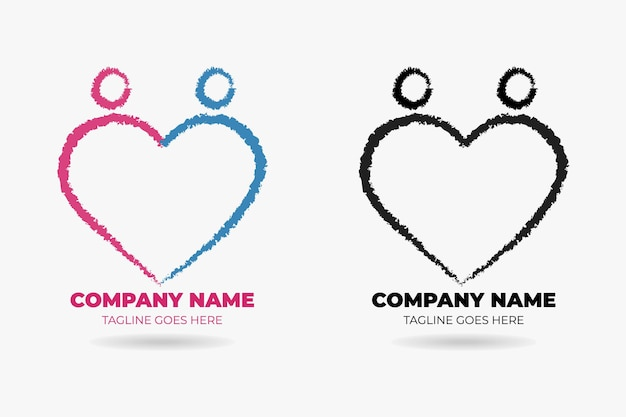 Paar hart logo premium vector