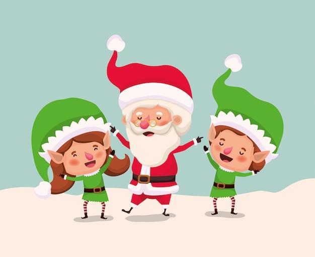Paar helpers met de kerstman in snowscape