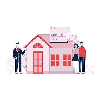 Paar het kopen huisbezit met de vectorillustratie van het bankkrediet