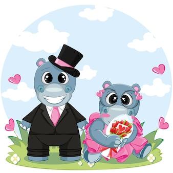Paar hippo op vakantie. cartoon vectorillustratie voor valentijn dag wenskaart.