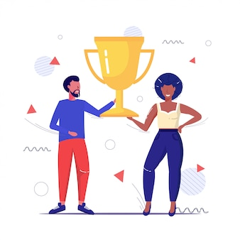 Paar houden gouden trofee cup eerste plaats kampioenschap concept afro-amerikaanse man vrouw permanent samen schets volledige lengte
