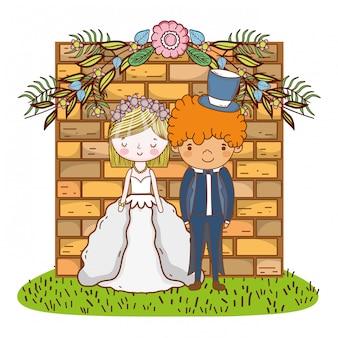 Paar huwelijk cute cartoon