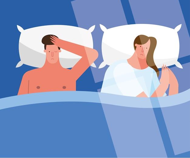 Paar in bed denken lijden aan slapeloosheid tekens vector illustratie ontwerp