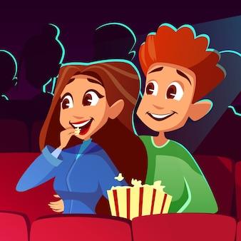 Paar in bioscoop illustratie van jonge jongen en meisje samen kijken naar film.