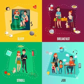 Paar in dagelijkse routine inclusief slaap, ontbijt, wandeling, baan, infographic elementen geïsoleerd