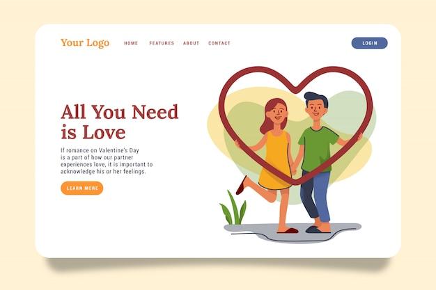 Paar in de illustratie van de de bestemmingspaginawebsite van de liefde.