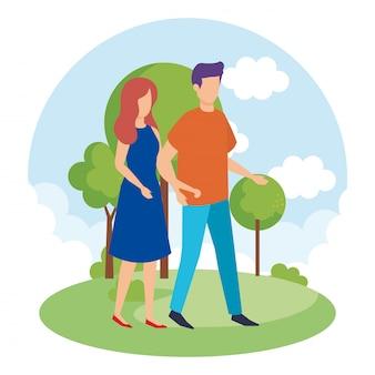 Paar in de parkkarakters