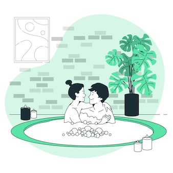 Paar in een illustratie van het jacuzziconcept