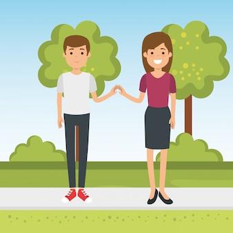 Paar in het park karakters