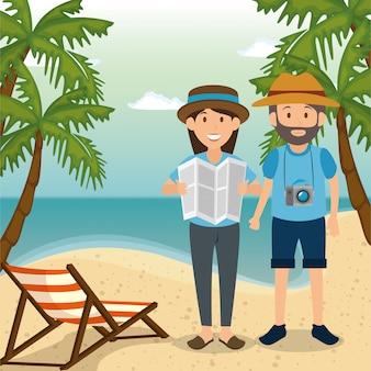 Paar in het strand karakters