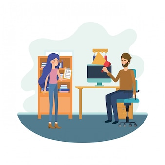 Paar in het werkkantoor avatar karakter