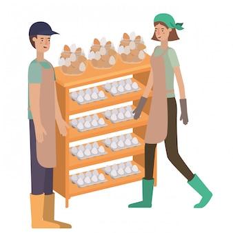 Paar in houten plank met eierenavatar karakter