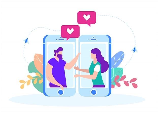 Paar in liefde praten op video in smartphone.