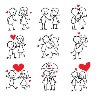 Paar in liefde stok figuur doodle
