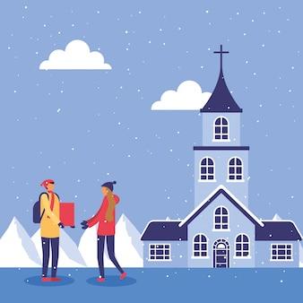 Paar in snowscape beoefenen activiteiten illustratie ontwerp