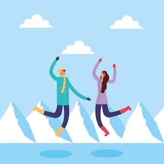 Paar in snowscape beoefenen van activiteiten