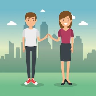 Paar in stadsgezicht tekens
