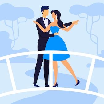 Paar in vakantie kleding platte vectorillustratie