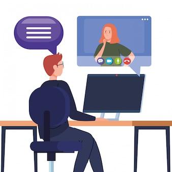 Paar in videoconferentie in computer