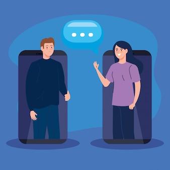 Paar in videoconferentie in smartphone