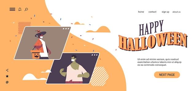 Paar in zombie- en sprookjeskostuums happy halloween party coronavirus quarantaine online communicatie web browser windows portret horizontaal kopie ruimte vector illustratie