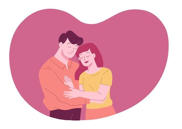 Paar is knuffel en tijd samen doorbrengen in hartvorm