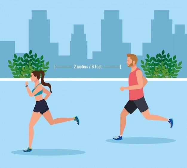 Paar joggen en afstand houden op coronavirus covid 19, dagelijkse oefening buiten illustratieontwerp