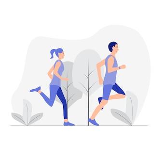 Paar joggen in het bos.